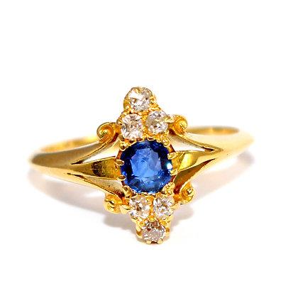 Victorian Sapphire & Diamond Marquise Ring c.1900