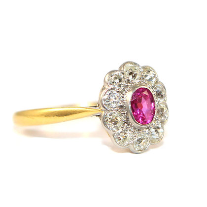 Edwardian Pink Sapphire Cluster Ring