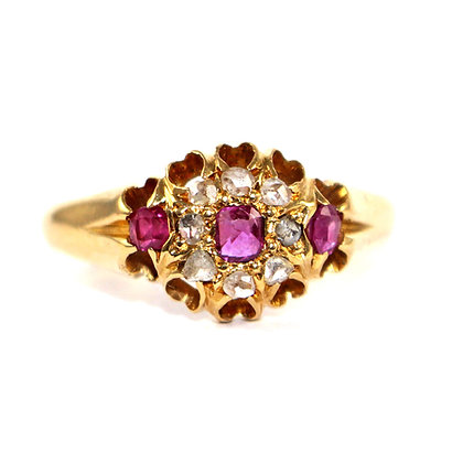 Victorian Ruby & Diamond Cluster Ring
