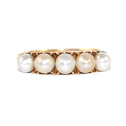 Victorian Pearl 5 Stone Ring