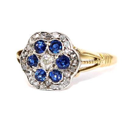 Victorian Sapphire & Diamond Cluster Ring