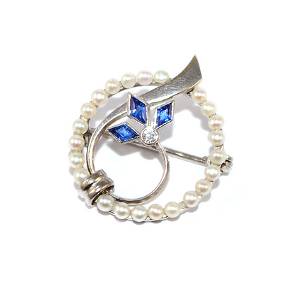 Art Deco Pearl, Diamond and Sapphire Brooch