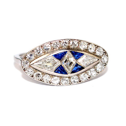 Art Deco Sapphire and Diamond Marquise Ring