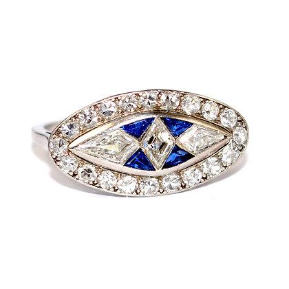 Art Deco Sapphire and Diamond Marquise Ring c.1935