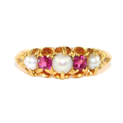Victorian Ruby and Pearl 5 Stone Ring