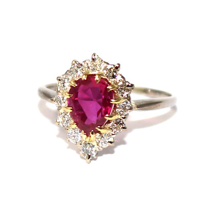 Art Deco Burma Ruby and Diamond Engagement Ring
