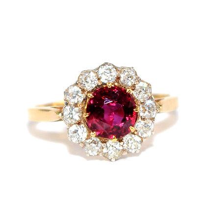 Edwardian Ruby and Diamond Halo Ring