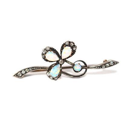 Art Nouveau Opal Shamrock Brooch