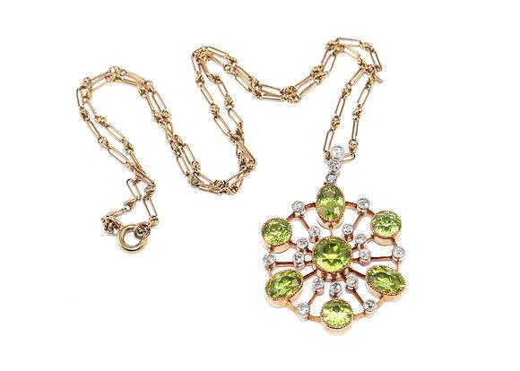 Edwardian Peridot and Diamond Pendant c.1910