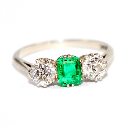 Art Deco Emerald and Diamond Engagement Ring