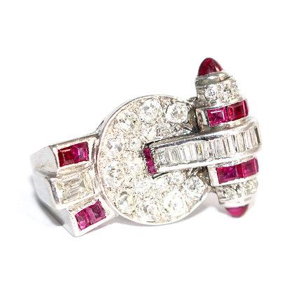 Art Deco Asymmetric Ruby and Diamond Cocktail Ring c.1935