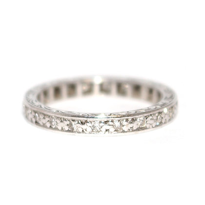 Handmade Diamond Eternity Ring c.1960 size M 1/2