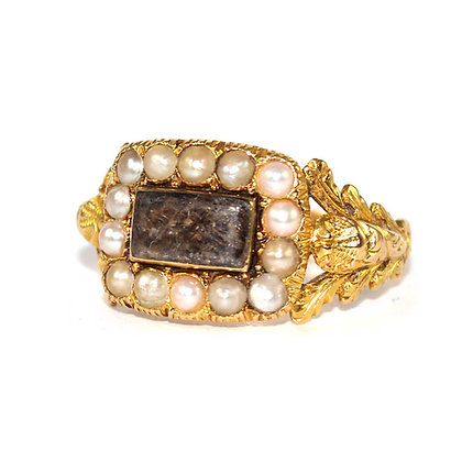 Regency Pearl Set Memorial Ring c.1820
