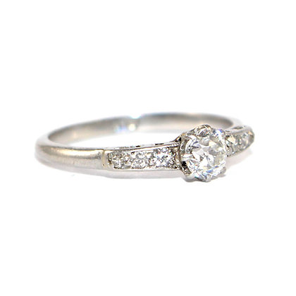 Art Deco Diamond Solitaire Engagement Ring