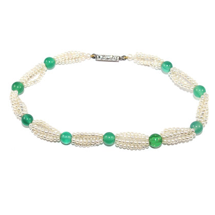 Edwardian Chrysoprase and Seed Pearl Bracelet with Diamond Clasp c.1905