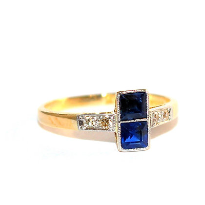 Edwardian Square Sapphire Ring