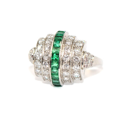 Art Deco Emerald and Diamond Bombe Ring