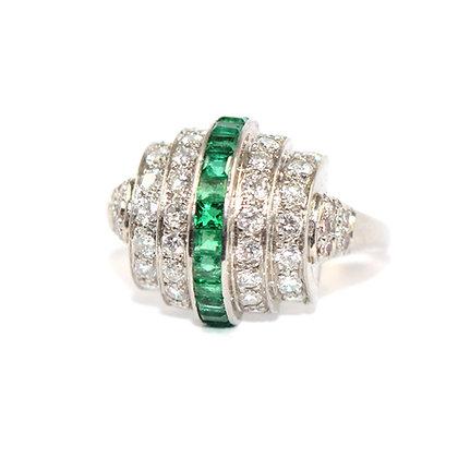 Art Deco Calibre Emerald and  Diamond Bombe Ring c.1935