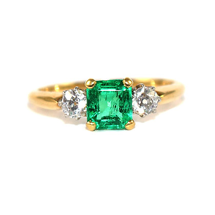 Edwardian Square-Cut Emerald and Old-cut Diamond 3 Stone Ring c.1915