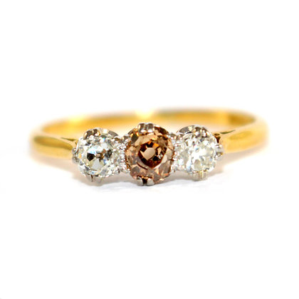Edwardian Champagne Diamond Three Stone Ring
