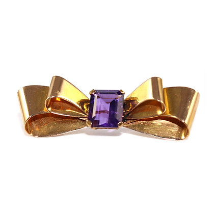 Amethyst Bow Brooch