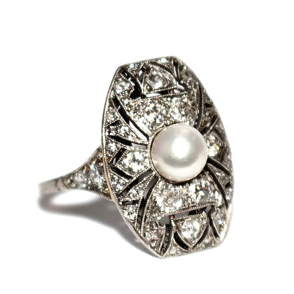 Art Deco Pearl & Diamond Tablet Ring
