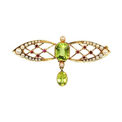 Art Nouveau Peridot Brooch