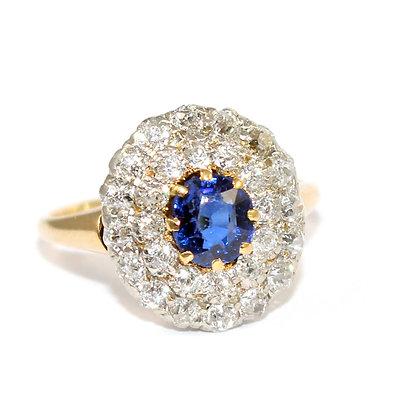 Edwardian Sapphire & Diamond Double Border Cluster Ring c.1920