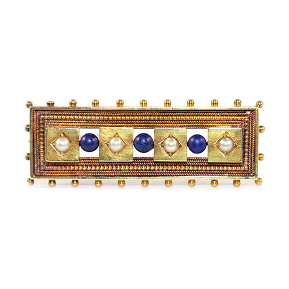 Victorian Etruscan Lapis Brooch