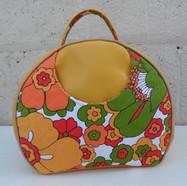 Olive Vintage look bag, summer flowers