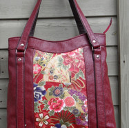 Red Tote with Japanese print panel