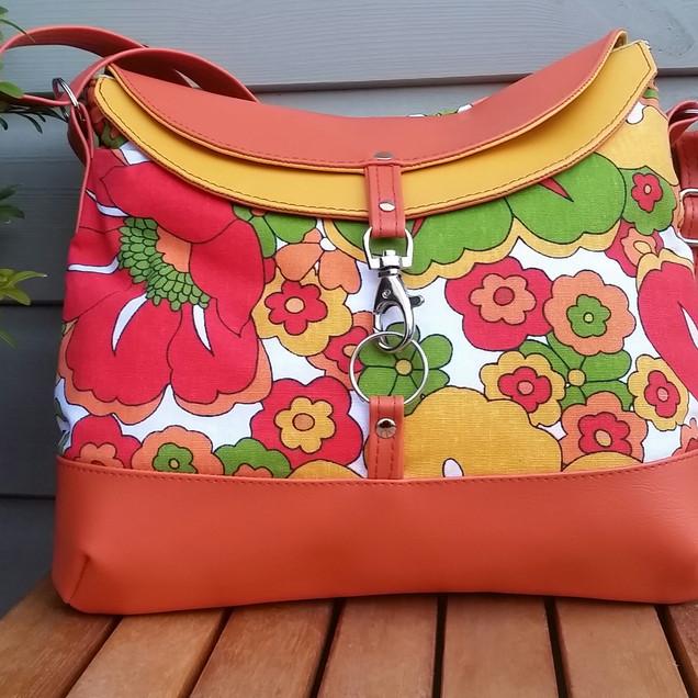 Hobo bag, orange and yellow summer flowe