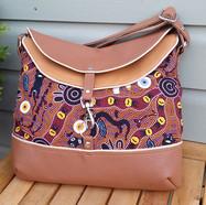 Hobo bag, brown and tan Australian Abori