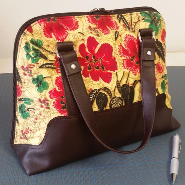 Handbag/Shoulder bag, red hibiscus