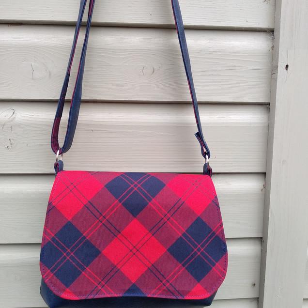 Messenger Bag, Red and Navy Tartan
