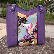Tote with Purple Geisha Panel