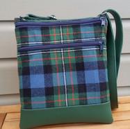Cross body bag, green tartan