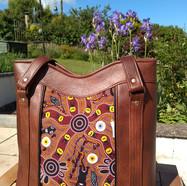 Tote Brown Australian Aboriginal printed panel