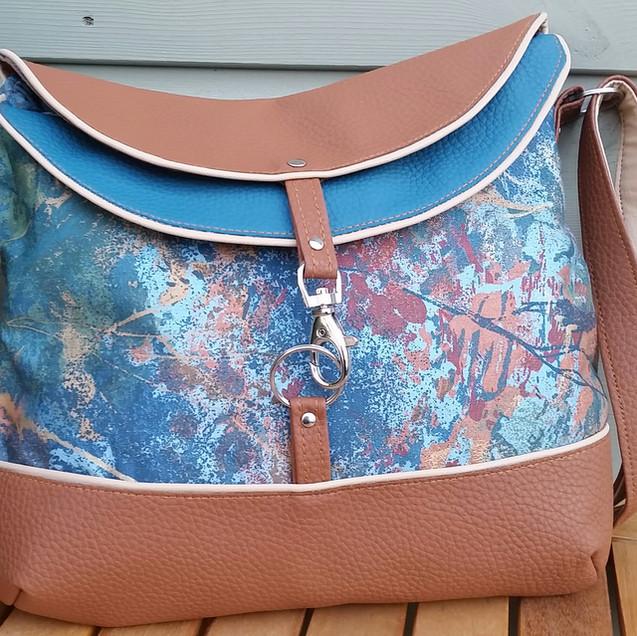 Hobo bag, brown and torquoise