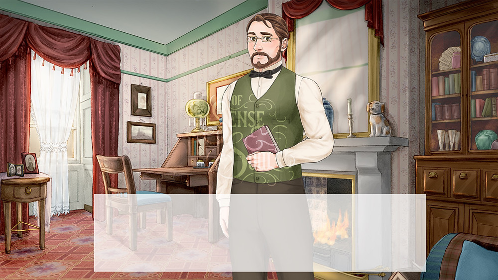 A Victorian style drawing room with Hugo standing in the middle.