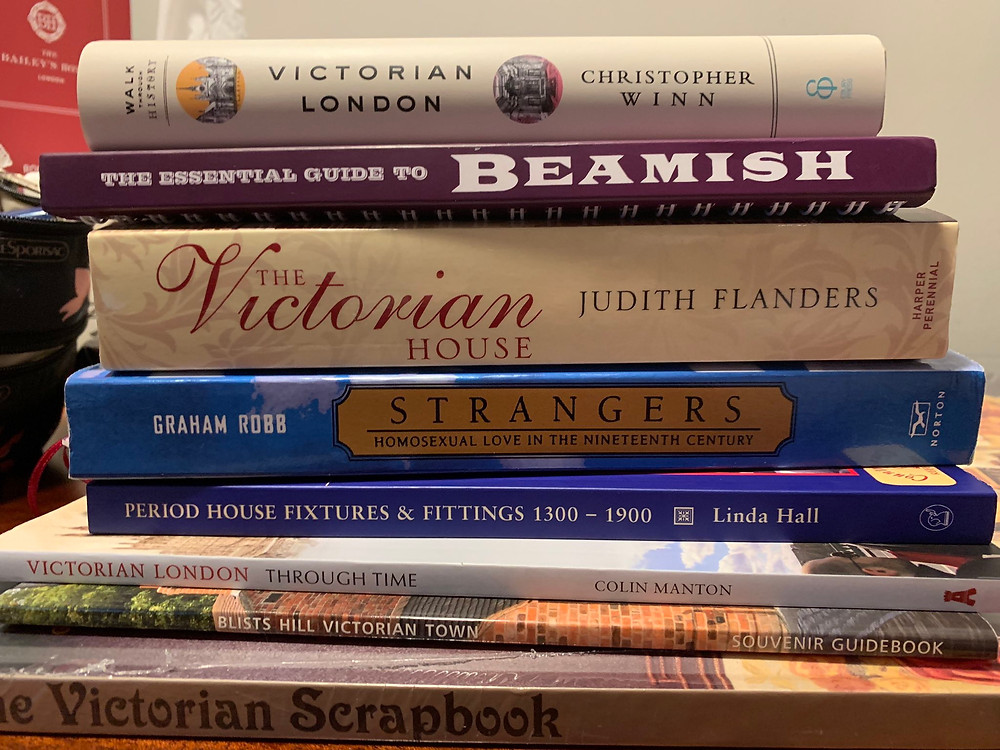 A stack of books, all related to the Victorian era.
