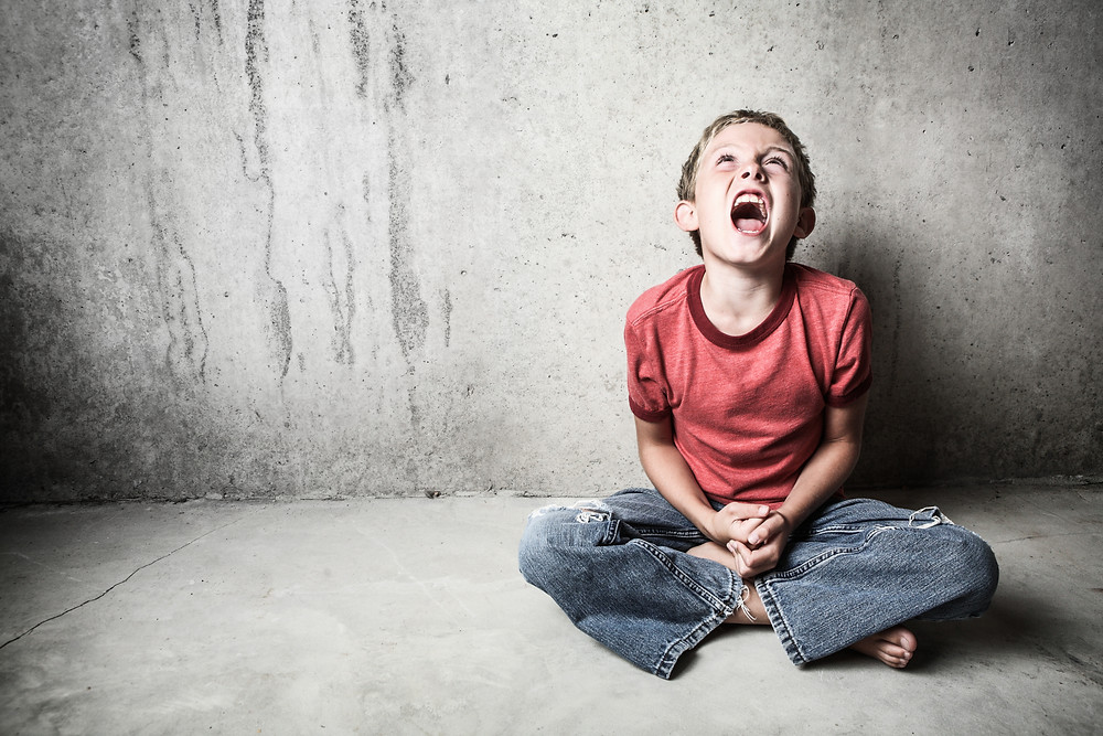 Child sitting on the floor screaming. Represents the need for family therapy in katy tx. Also represents the need for neurofeedback therapy houston and family counseling katy tx 77494.