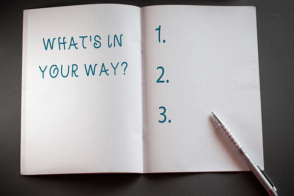 "Notebook with ""what's in your way"" and a numbered list with a pen. represents removing obstacles in seeing a therapist for teen depression. There is therapy for teen depression in katy texas and therapy for teen depression in houston texas. 77494."