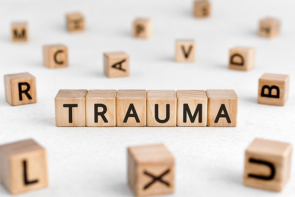 Wood blocks spelling trauma. Represents the need for neurofeedback for ptsd katy texas and neurofeedback for ptsd houston texas. Also represents neurofeedback in katy tx.