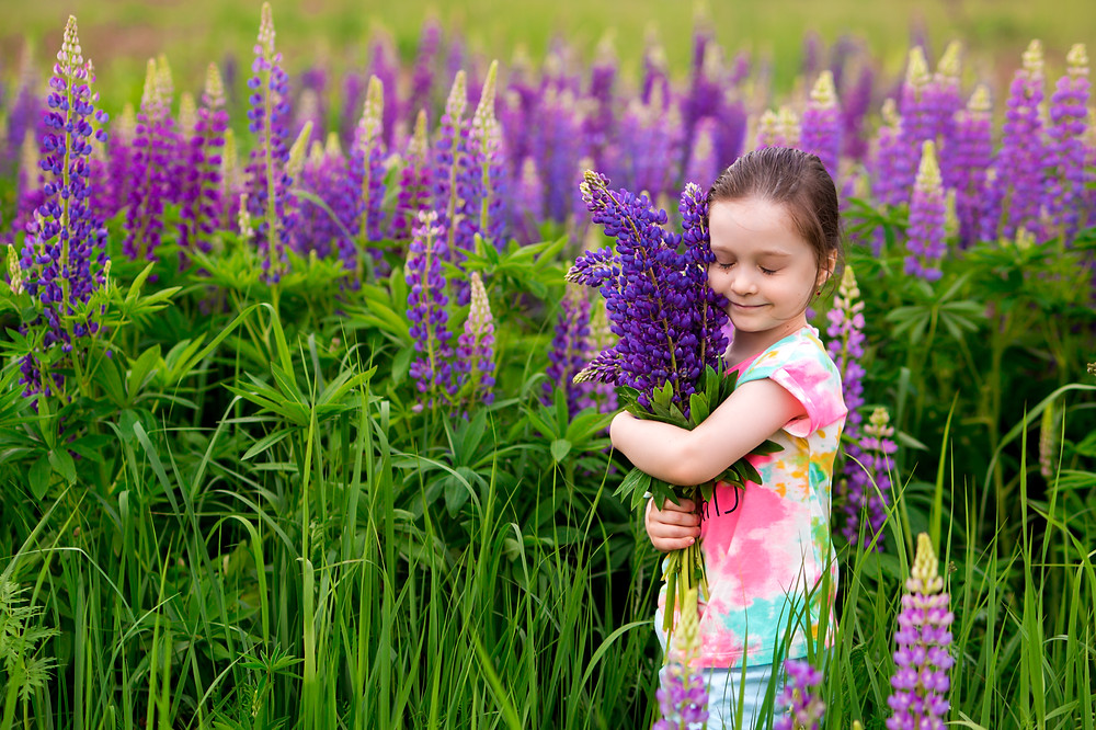Little girl hugging flowers with eyes closed. Represents the need for depression counseling katy, tx and social anxiety therapy katy, tx 77494. Also represents the need for teen anxiety therapist houston, tx and gifted students katy, tx 77494.