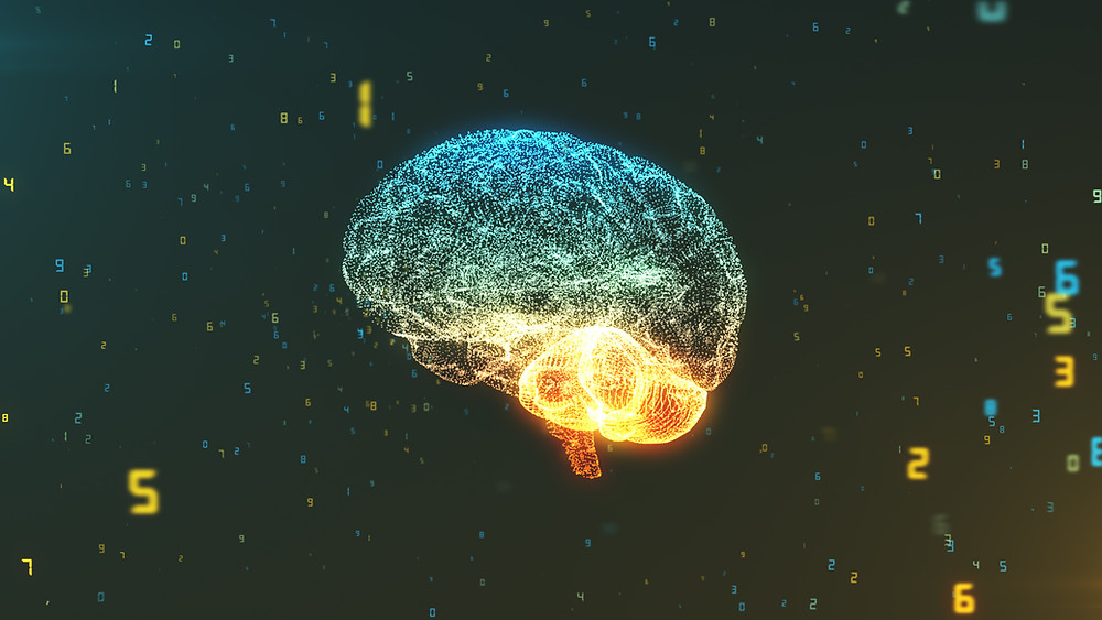 Digital brain floating in air. Represents counselors specializing in trauma katy, tx. Also represents the need for neurofeedback in houston, tx.