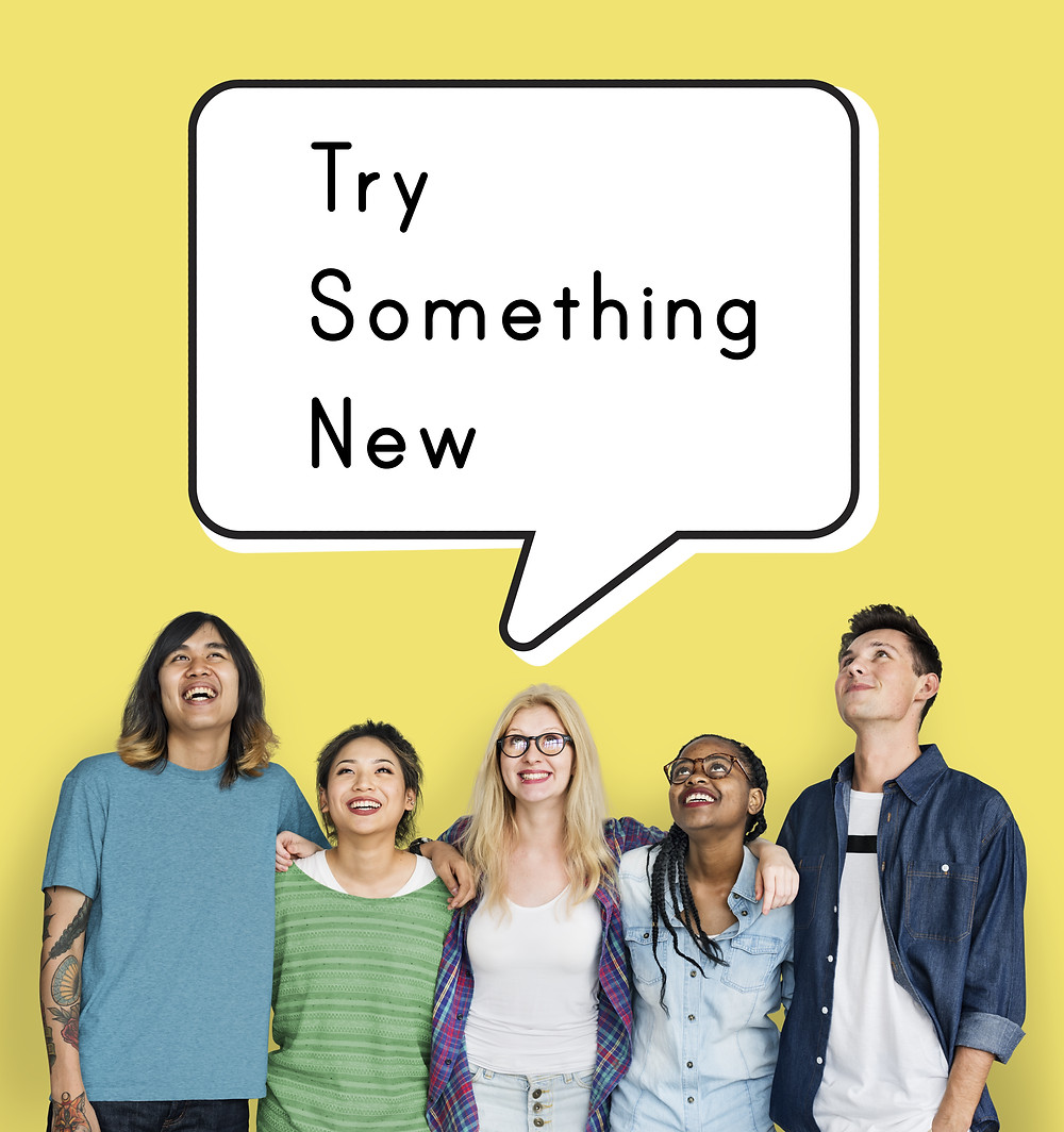 """Teens with a thought bubble """"try something new"""". Represents trying ptsd therapy in katy, tx and neurofeedback for adhd houston texas. Also represents trauma therapy for teens houston, tx."""