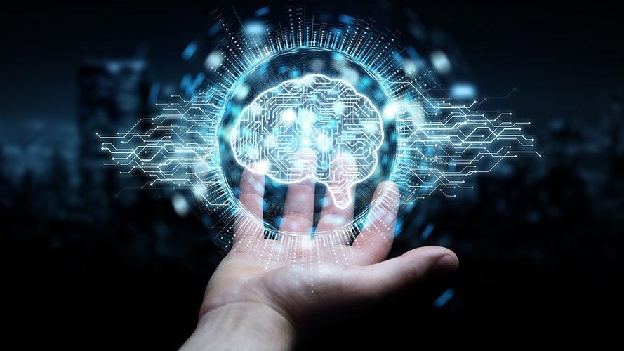 Hand holding a digitized brain. Represents neurofeedback in katy texas 77494. Also represents neurofeedback in houston texas.