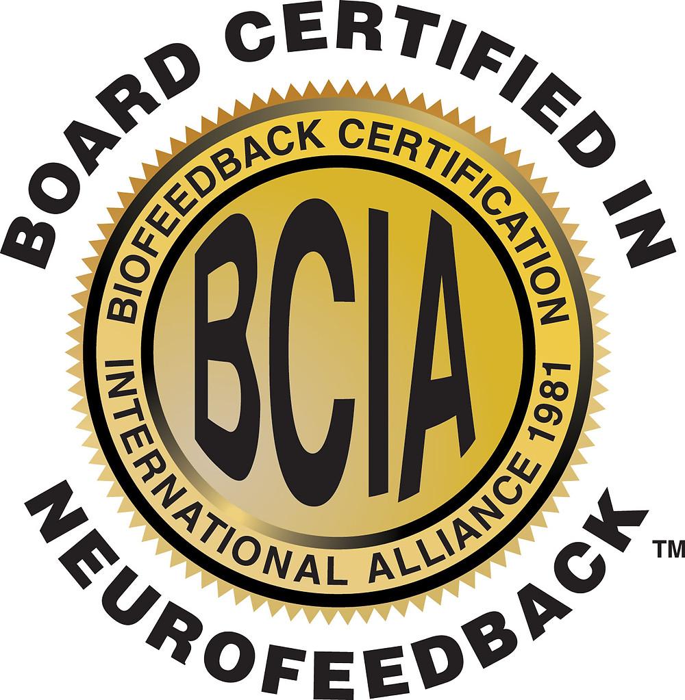 Seal for Board Certified in Neurofeedback through BCIA. Providing neurofeedback in katy, tx 77494. Also providing neurofeedback for anxiety katy, tx and neurofeedback for depression katy, tx 77494.