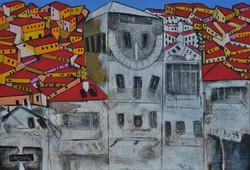 Sun clock in Jerusalem, acrylic 80 x 110